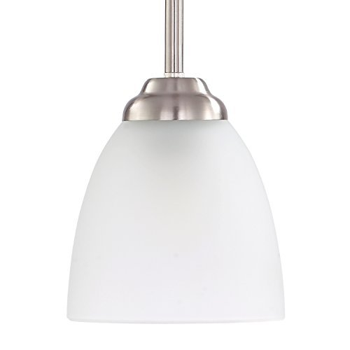 LivEditor 1-Light Stem-Hung Mini-Pendant. Brushed Nickel Fixture with Adjustable Hanging Height (Brushed Nickel Mini Pendant Stem)