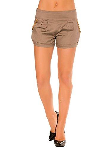 dmarkevous - Short à pinces Taupe FEMME avec chaine sur les poches avant et arrières. - 38, taupe