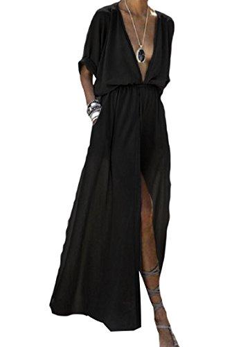 Coolred Short Black Pure Long Neck Sleeve Women Maxi V Dress Deep Split Colour qrtcr7