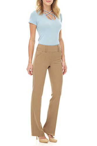 Rekucci Collection Women's Chic Comfort Pull-On Bootcut Pants (6,Camel)