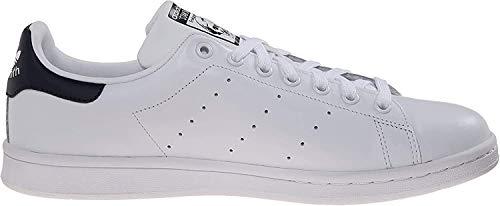 adidas Originals Men's Stan Smith Leather Sneaker, White White Dark Blue, 8.5
