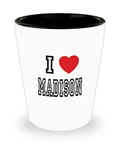 White Ceramic Shot Glass I Love Madison Mug Lover Gift Coffee Funny Idea Tea Cup Cute Ceramic Present Gag,al3257]()