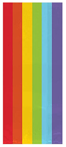 Amscan Colorful Small Party Bags Rainbow Party Supplies, 9-1/2 x 4 x 2-1/4
