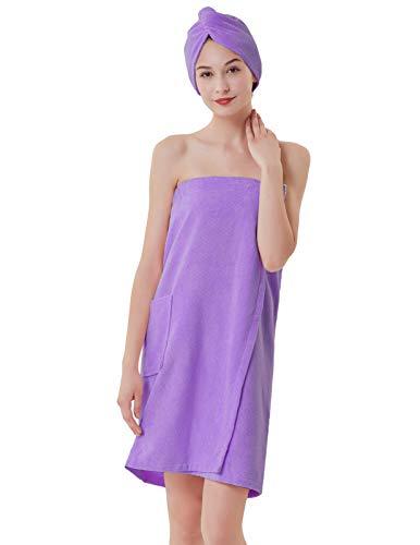 (Terry Cotton Women Bath Wrap Towels Shower Spa Cover Up Purple XL)