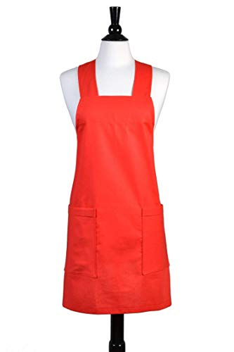 - Japanese Linen Crossback Apron - Red Womens Retro Crossover Pinafore - Vintage Style Kitchen Apron - Two Large Pockets - Personalized Options