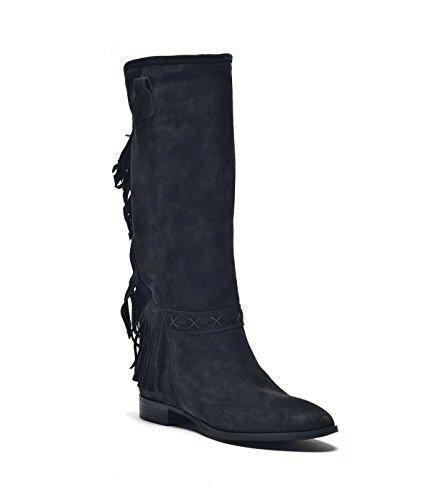 PoiLei Fanny - Damen Schuhe / Sommer-Stiefel mit Fransen schwarz