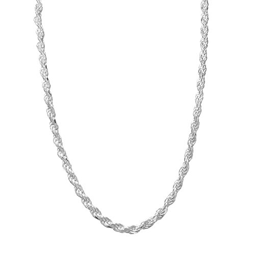 Sterling Silver Rope Chain Necklace Diamond-Cut Italian Made - 2.8mm - 26 inch