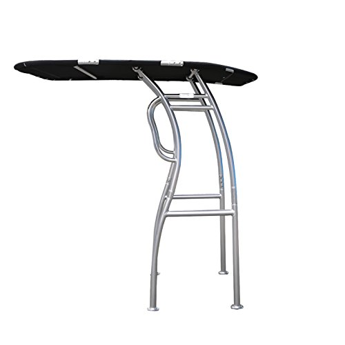 Dolphin Pro S2 T-TOP ✮ Folding Center Console Fishing Boat Tower Bimini Canopy, Marine Anodized Aluminum, Collapsible TTOP, Centre Fold Down Shade Roof (Anodized - Black Canopy)