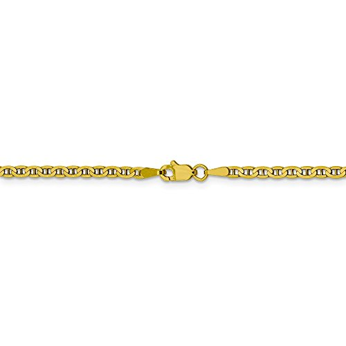 2.4 mm 10k Yellow Gold Concave Anchor Chain Ankle Bracelet - 10 ()