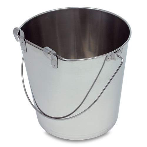 (8.5l) Indipets Heavy Duty Flat Sided Stainless Steel Pail