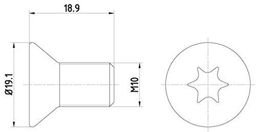 HELLA PAGID 8DZ 355 209-101 Schraube, Bremsscheibe, Hinterachse oder Vorderachse, Oberflä che geometisiert, Set aus 2 Bremsscheiben Hella KGaA Hueck & Co.