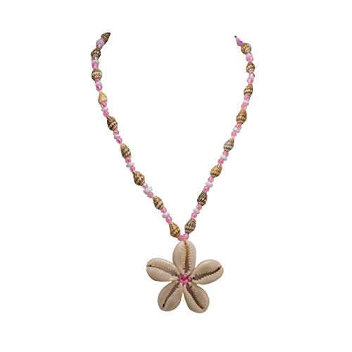 BlueRica Cowrie Shells Flower on Tiger Nassa & Puka Clam Shells Beads Necklace with Pink Beads