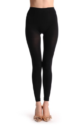 Plus Size Plain Black 100 Den - Noir Leggings Taille Unique (36-48)