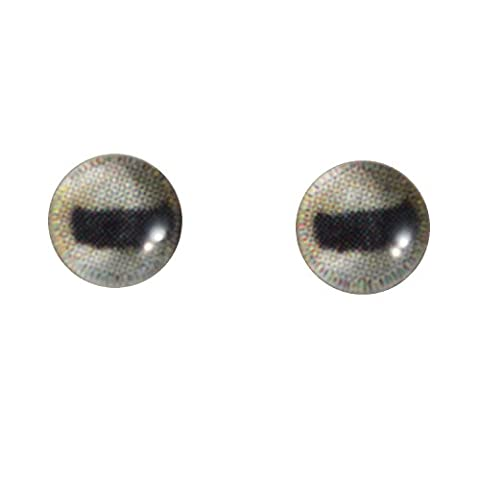 6mm Glass Goat Eyes Pale Animal Pair Realistic Taxidermy Sculptures or Jewelry Making Crafts Set of 2