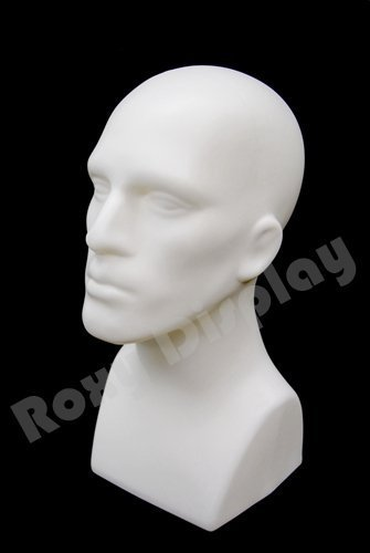 "(PS-M-WH)16"" Tall Male Mannequin Head Durable Plastic (White)"
