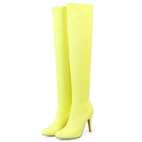 Long Pull On Yellow Boots Women's Taoffen 5P80Sx
