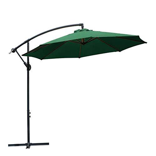 WARM HARBOR PDEX-P50607 Crank Lift (10 Ft-Green) Offset Hanging Patio Umbrella Aluminum Outdoor - Harbor Umbrella