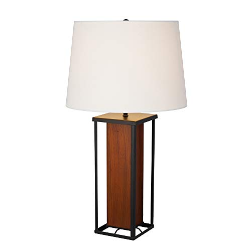 """Price comparison product image Stone & Beam Modern Farmhouse Wood Table Lamp,  23.25"""" H,  With LED Bulb,  White Shade"""