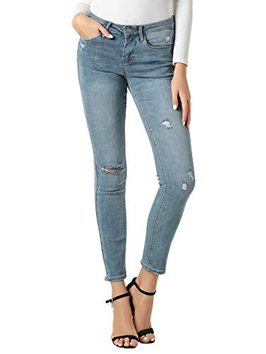 Women's Juniors Skinny Jeans Mid Rise Distressed Ripped Butt Lift Denim Jeans Pants Light Blue -