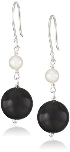 White Potato Freshwater Cultured Pearl Accent on Sterling Silver Drop Earrings (Black Bead Drop Earrings)