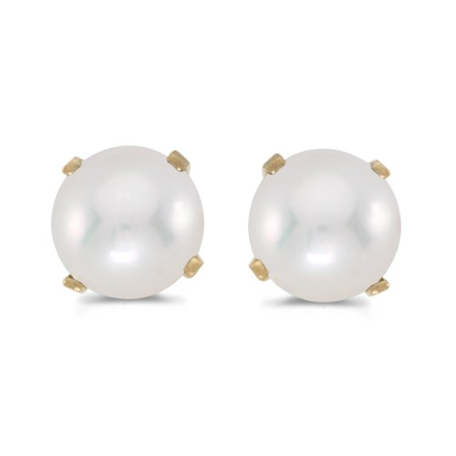 (5 mm Freshwater Cultured Pearl Stud Earrings Set in 14k Yellow Gold)