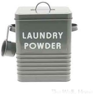 Caja de metal para guardar detergente con dispensador. Bote para ...