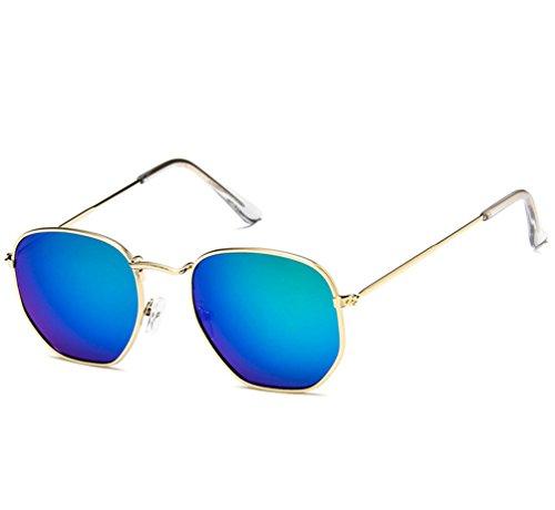 Marco Retro Aviador Ketamyy De Dorado Gafas De Polarizados Marco Colorido Unisexo Sol Sol Gafas Cuadradas Verde Meta 55qxt7raw