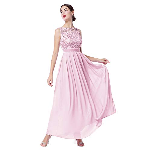Women Floral Lace Chiffon Wedding Bridesmaid Long Dress Sleeveless Crochet Cocktail Evening Party Formal Ball Gown Dusty Rose XL