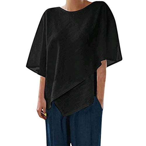 (GHrcvdhw Summer Round Neck T-Shirt for Women Solid Color Half Sleeve Splice Irregular Sleeve Top Loose Blouse Tops Black)