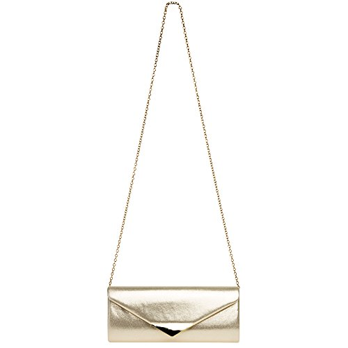 Elegant Gold Metal Bag Decor with Envelope TA417 Satin Evening CASPAR Ladies Clutch 1xTXn6q