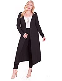 Women's Plus Size Long Straight Front Cardigan With Long Sleeve