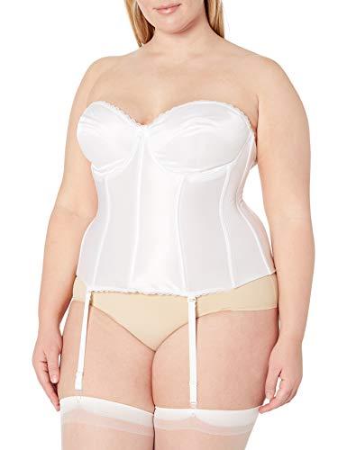 Va Bien Women's Plus Size Smooth Satin Hourglass Bustier, White, 40C