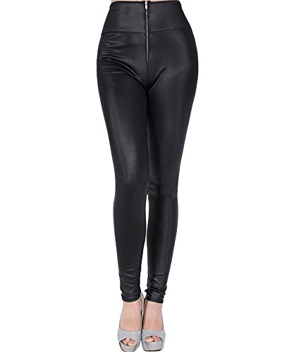 Zipper Front Leather Pants - 9