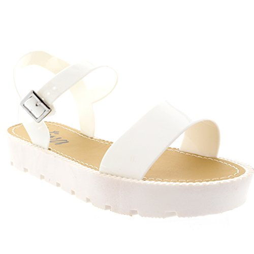 Womens Flatform Buckle Peep Toe Wedge Vacation Festival Strappy Sandals - White - 7 - 38 - CD0130