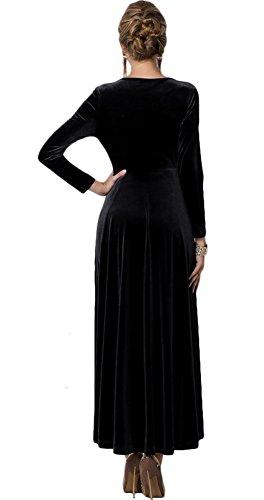 Sleeve Stretchy Long V Long Dress Neck Velvet Women CoCo Black Urban AEw0tg