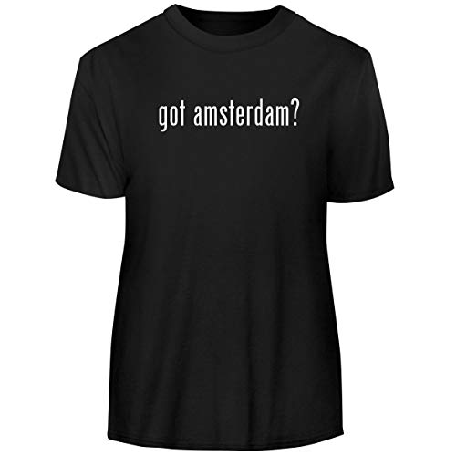 One Legging it Around got Amsterdam? - Men's Funny Soft Adult Tee T-Shirt, Black, - New Gin Amsterdam