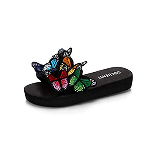T-JULY Girls Ladies Fashion Colorful Butterfly Flat Slide Sandals for Women Bohemian Slip on Dress Beach Slipper
