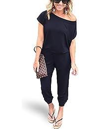 f221c9ce478cf Women s Sexy Off Shoulder Elastic Waist Beam Foot Jumpsuit Rompers