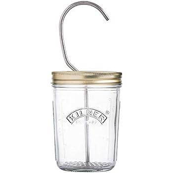 KILNER GLASS PRESS PRESERVE 1L JAR SET WITH STAINLESS STEEL HOPPER /& 1 PIECE LID