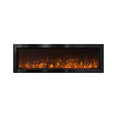 Modern Flames Indoor/Outdoor Electric Fireplace (NOVA-60-BS), Black Stainless Steel