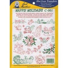 Aunt Martha's Happy Holidays Iron On Transfer Pattern Collection, Thanksgiving and Christmas Motifs