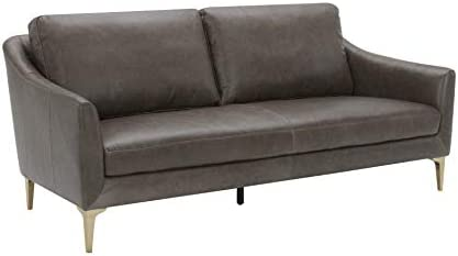 Amazon Brand Rivet Alonzo Contemporary Leather Sofa Couch, 80 W, Grey
