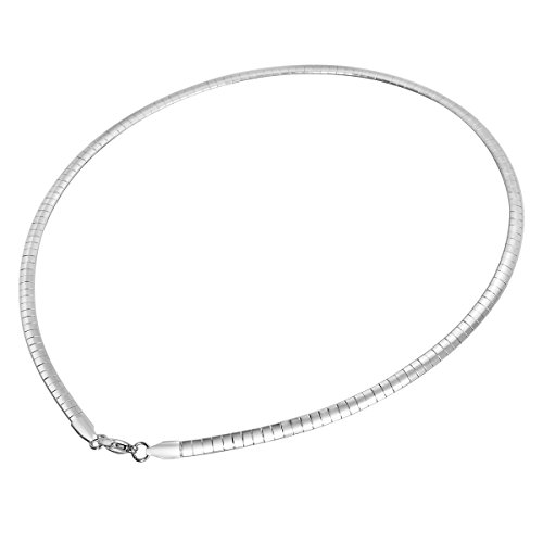 HOUSWEETY Stainless Steel Silver Flat Chain Necklace 45cm(17 6/8