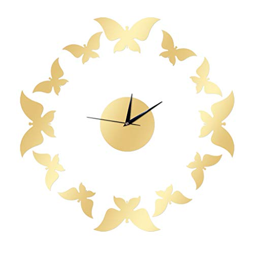 3D DIY Wall Clock,Family Decor Sticker Mirror Frameless DIY Art Crafts Wall Clock Kit for Home Living Room Bedroom Office Decoration,Best Gift Idea for Birthday Halloween Chrismas -