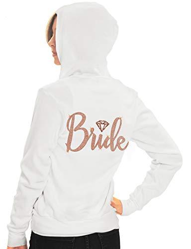 Rose Gold Bride Zip Hoodie - Bride with Diamond Motif Rose Gold Light Weight Hooded Jacket - Spa Bridal Shower, Bachelorette Party - Small - White Hood(DiamBrd RsG) - Diamond Hoodie Zip