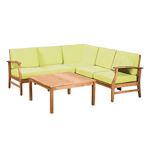 GDF Studio Capri Outdoor Patio Furniture Wood 6 Piece Chat Set with Water Resistant Cushions (Set 6 Piece Chat)