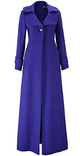 Chaqueta con Botón Trenca de Larga Zafiro Mujer Abrigo Elegante Clasico Manga de Azul Abrigo Blazer Largo gwxqtaU