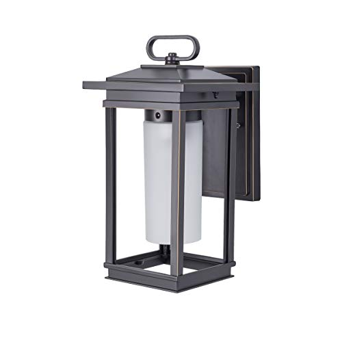 - Outdoor Wall Lantern, Exterior Lighting Fixture Wall Mount, Porch Lights in ORB Finish with Frosted Glass, Waterproof 1-Light Modern Outdoor Wall Light for Garage, Entryway, Fence, 40W