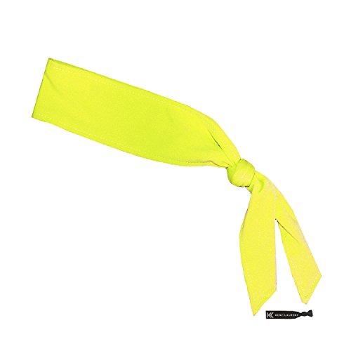Headbands Tie on Headband for Women Men Running Athletic Hair Head Band Elastic Sports Sweat Basketball Sweatband Stetchy Yoga Workout Sweatbands Adjustable Non-Slip Moisture Wicking (Neon Yellow)
