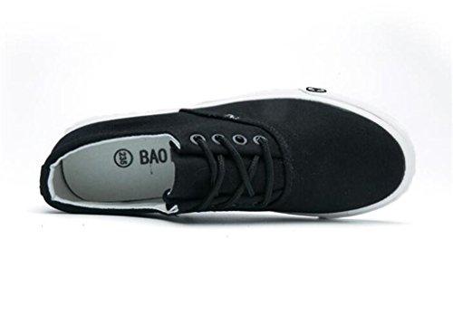 Blanco Lona Diario Correa Negro Black Plano Cómodo Verano De Movimiento Zapatos Ocio Nvxie Fondo Estudiantes Mujer 4xqg7Stnw6